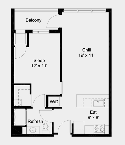 The Outfield apartment: 1 bed, 1 bath, 587 square feet option 2