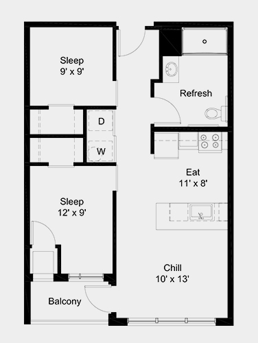 The Outfield apartment: 2 bed, 1 bath, 684 square feet option 3