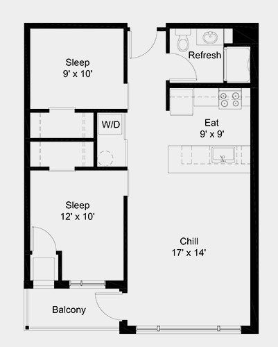 The Outfield apartment: 2 bed, 1 bath, 745 square feet option 4