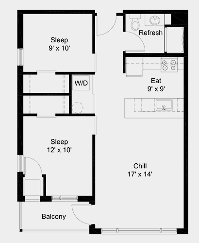 The Outfield apartment: 2 bed, 1 bath, 752 square feet option 1