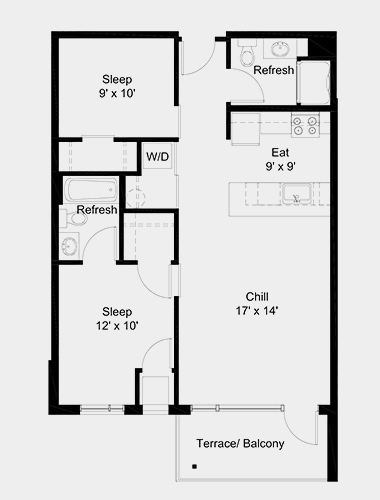 The Outfield apartment: 2 bed, 2 bath, 799 square feet option 1