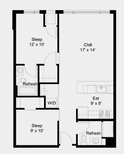 The Outfield apartment: 2 bed, 2 bath, 799 square feet option 2