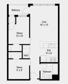 The Outfield apartment: 2 bed, 1 bath, 678 square feet